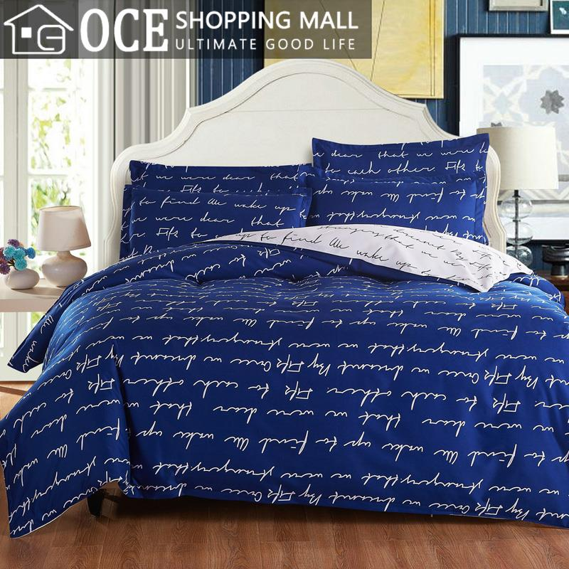 active printed letter bedding set twin queen king twin queen king size blue bed set contain. Black Bedroom Furniture Sets. Home Design Ideas