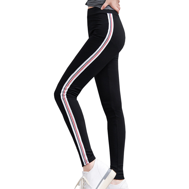 2018 Summer Trousers For Women Side Striped Pants Trousers Casual High Elastic Waist Drawstring Slim Pencil Pants Female
