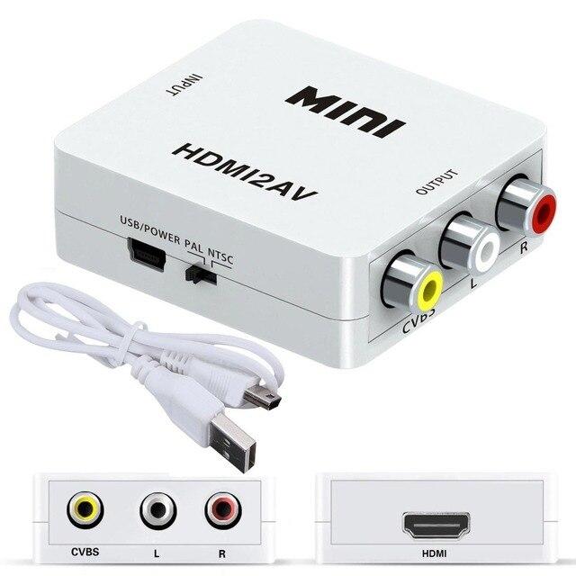 1080 p Mini HDMI a VGA a RCA AV Composito Adattatore Convertitore con 3.5mm Audio cavo VGA2AV/CVBS + Audio per PC HDTV Convertitore