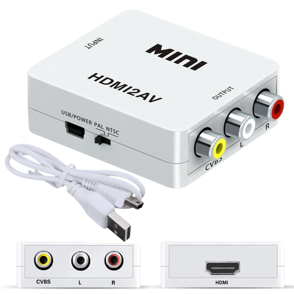 1080P Mini HDMI to VGA to RCA AV Composite Adapter Converter with 3 5mm Audio cable Innrech Market.com