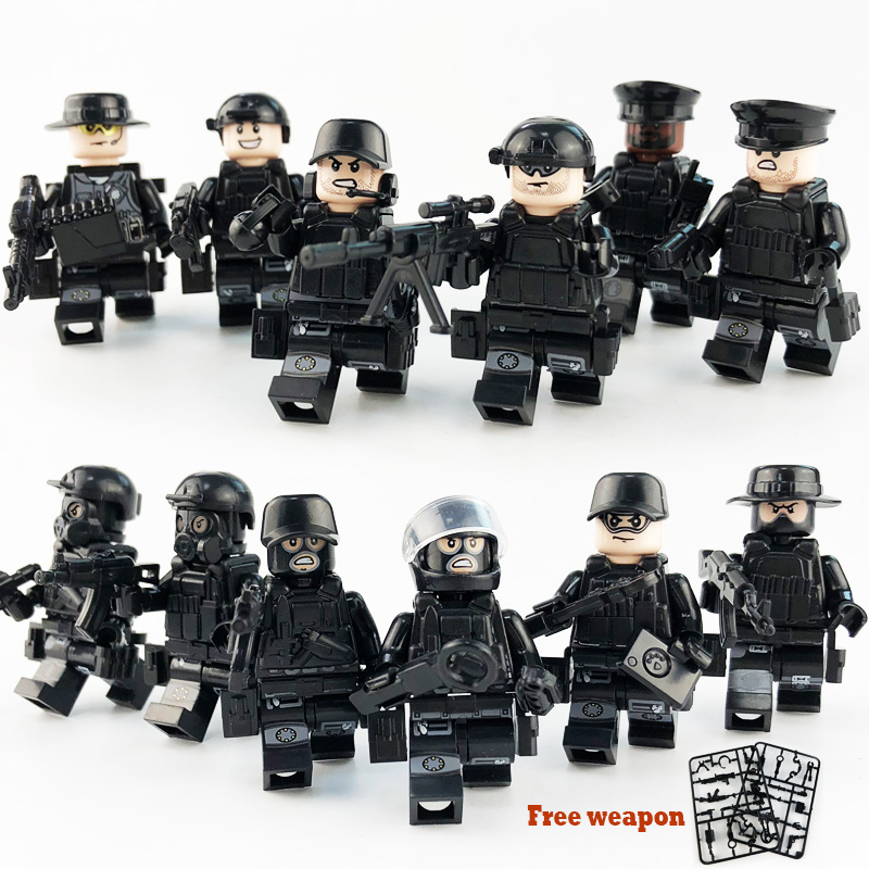 12Pcs/set Military Special Forces Soldiers Bricks Figures Guns Weapons Compatible Legoings Armed SWAT Building Blocks Ww2 Toys 6pcs swat special forces police the wraith assault cs with motorcycles weapons figures building blocks bricks toys for kids