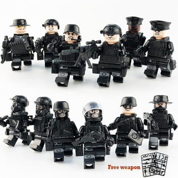 12Pcs/set Military Special Forces Soldiers Bricks Figures Guns Weapons Compatible Legoings Armed SWAT Building Blocks Ww2 Toys