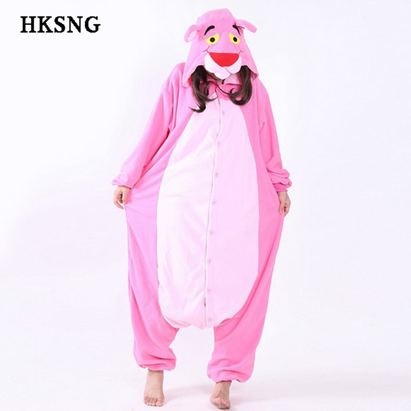 HKSNG New Leopard Pink Panther Pajamas Good Quality Winter Animal Unisex Soft Warm Onesies Adult Kigurumi Cosplay Costume