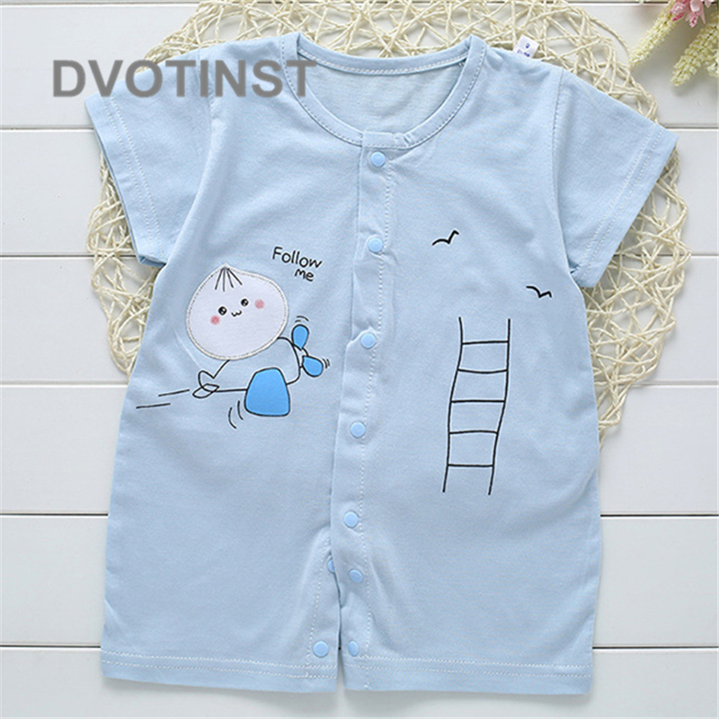 Baby Boys Girls Clothes Short Sleeves Cotton Rabbit Bird Bodysuit Romper Outfits Kids Infant Toddler Jumpsuit Clothing Costume(China)