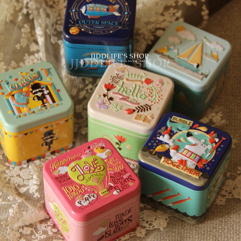 New!4pcs/ot Square Metal Gift Tin Box Candy Can Storage Case Valentines' Day Gift Wedding DecorKid's Gift Mix Design