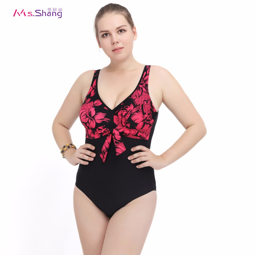 Summer Monokini Plus Size One Piece Swimsuit Low Cut Swimwear Women 2017 Bowknot Backless May Beach Red Floral Bathing BodySuit one piece swimsuit cheap sexy bathing suits may beach girls plus size swimwear 2017 new korean shiny lace halter badpakken