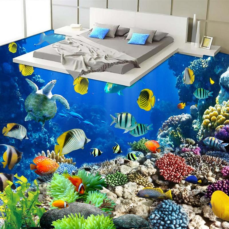 Photo Wallpaper HD Underwater World Tropical Organisms 3D Floor Murals Kitchen Bathroom PVC Self Adhesive Waterproof 3D Stickers