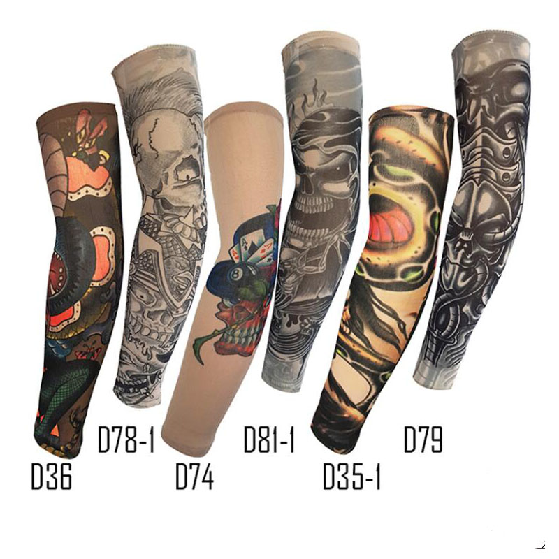 Dark System Arm Sleeves Tattoo  Man/Women Ice Sleeves UV Protection Prints Code High Elastic Fat People Wearing