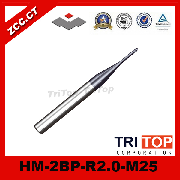 ZCC.CT HM/HMX-2BP-R2.0-M25 68HRC solid carbide 2-flute ball nose end mills with straight shank, long neck and short cutting edge zcc cthm hmx 4efp d8 0 solid carbide 4 flute flattened end mills with straight shank long neck and short cutting edge