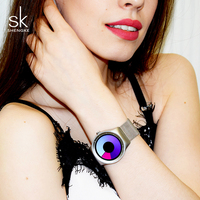 Shengke twórcze kobiety zegarki unikalny srebrny opaska siatkowa zegarek na rękę luksusowe moda quartz zegarek damski 2019 SK Relogio Feminino w Zegarki damskie od Zegarki na