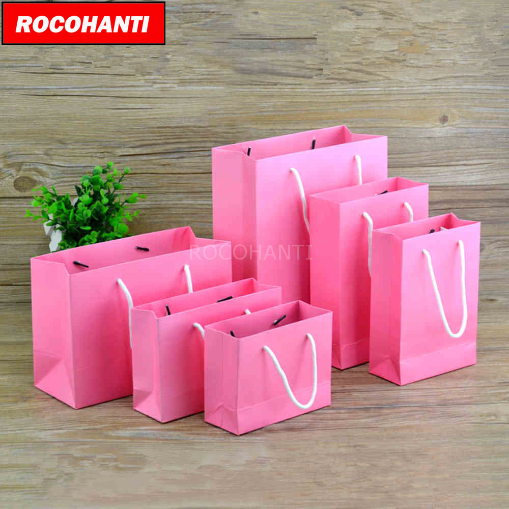 50x Thick Custom Printed Matte Paper Bag Eco Promotion Shopping Bag Pink Color F2125
