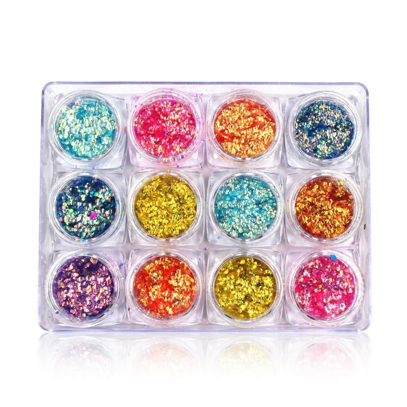 12 kolorów Nail Art Glitter cekiny Nail Powder Palette Mermaid - Sztuka zdobienia paznokci - Zdjęcie 4