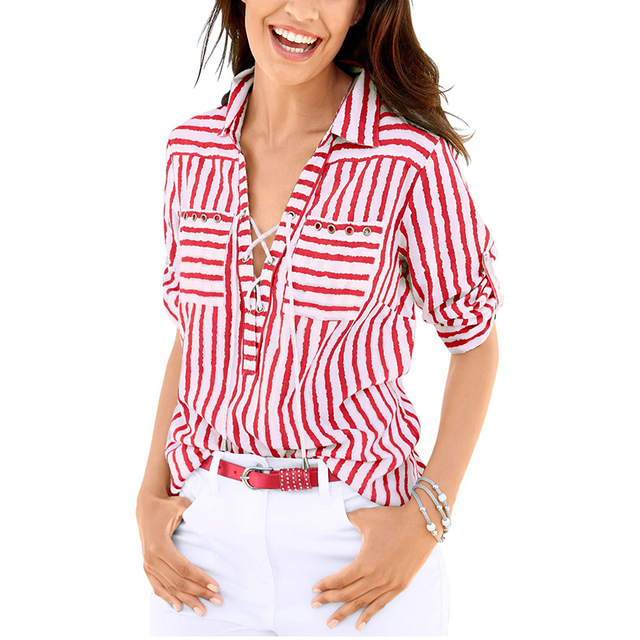 2018 spring summer women s blouse shirt deep v neck lace up contrast color  striped long sleeve basic women top female clothing 729f4cf0b