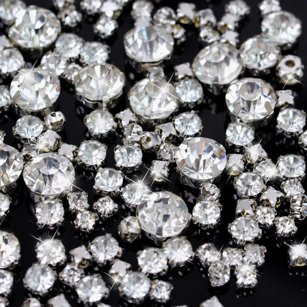 200Pcs Shiny Crystal/Clear 3D Glass Sew On Rhinestone Stones For Clothes Dress Handbag Claw Sewing Rhinestone Decoration DIY