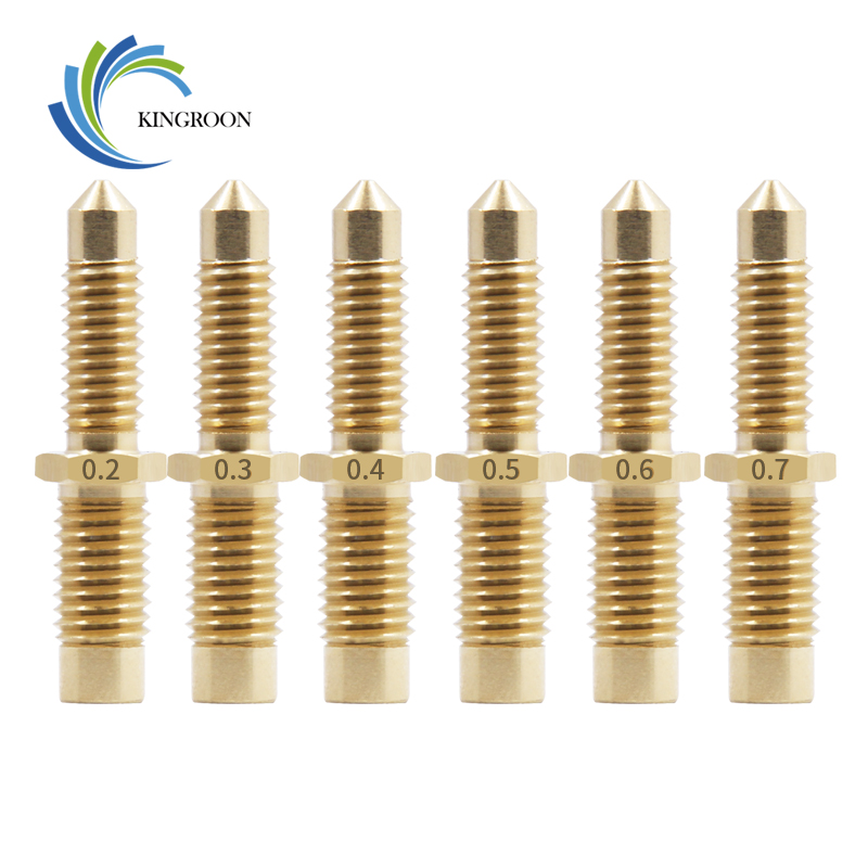 KINGROON Integrated Copper Nozzle For E3D V6 Remote M7 Thread Extruder Hotend 0.2-0.8mm For 1.75/3mm Brass Extruder Print NozzleKINGROON Integrated Copper Nozzle For E3D V6 Remote M7 Thread Extruder Hotend 0.2-0.8mm For 1.75/3mm Brass Extruder Print Nozzle