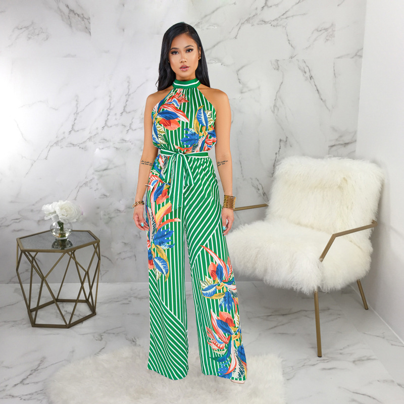 Women Stripe Flora Printed Halter Wide Leg Bodycon Jumpsuits Sleeveless Plus Size Wrap Belt Slim Fit Hot New Trends Jumpsuit