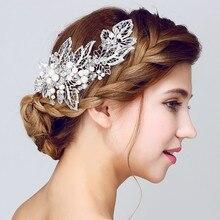 Dower me Stunning Silver Rhinestone Leaf Wedding Hair Clip Handmade Accessories Bridal Headband Pearl Women Headpiece Tiara