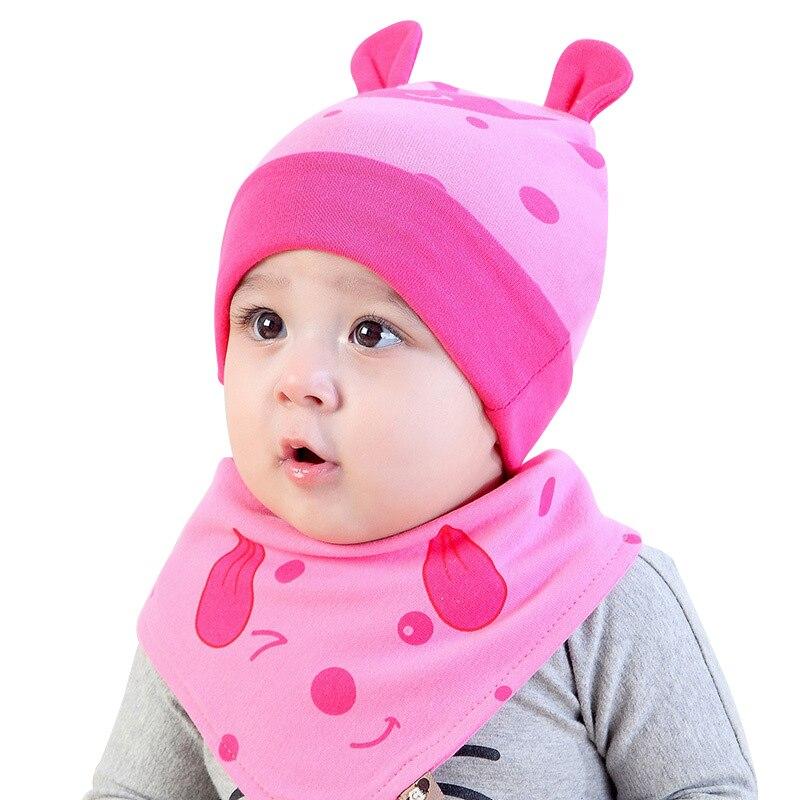 Cute Dog Baby Hat Set Cotton Infant Beanie +Cartoon Print Scarf Newborn Baby Tire Hat Cap For Boy Girls Autumn Baby Boy Clothing