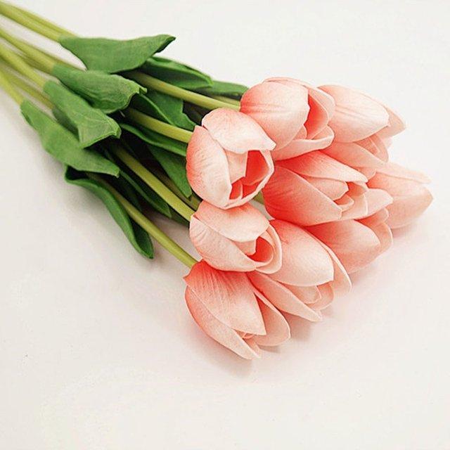 Online shop 10 pcs fashion artificial beauty flower tulip with leave 10 pcs fashion artificial beauty flower tulip with leave flower bouquet wedding decoration supplies accessories junglespirit Image collections