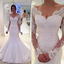 Vestido De Noiva Lace Wedding Dresses 2016 O-Neck Long Sleeve Button Sweep Train Applique 2016 Mermaid Wedding Gowns Dress