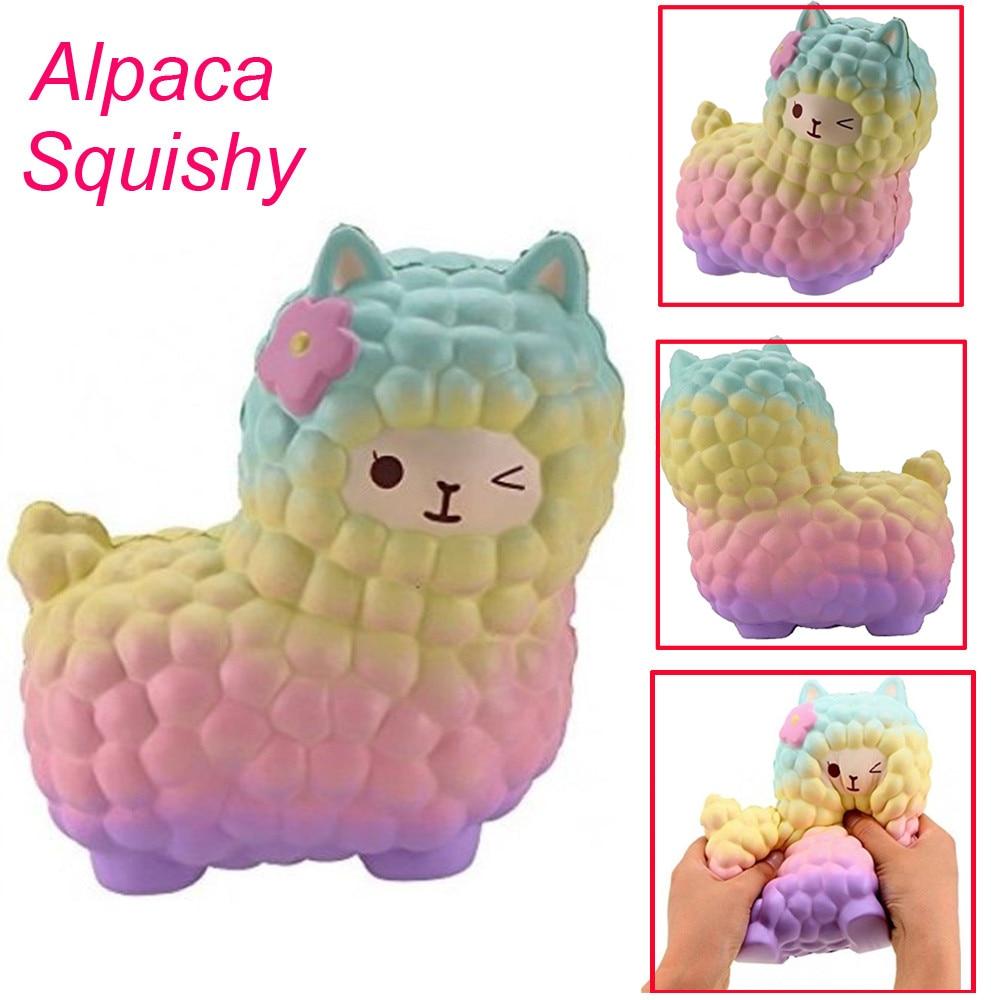 17CM colorful Novelty Toy Anti-Stress Pu Jumbo Sheep Squishy Cute Alpaca Galaxy Super Slow Rising Scented Fun Buffer Stress gift pa93 pu foam shrimp model squishy relieve stress toy