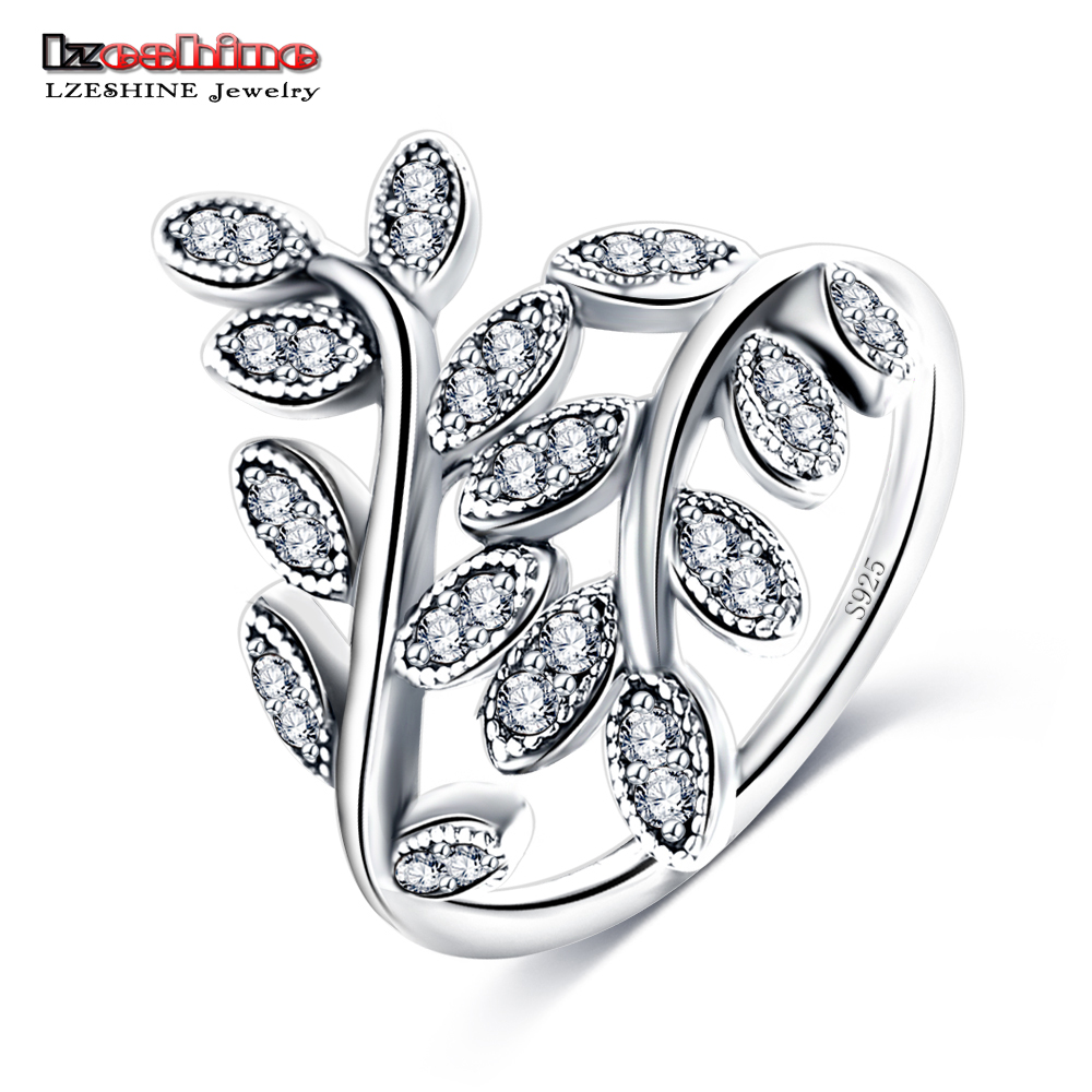 LZESHINE Newest 925 Sterling Silver Luxury Dazzling Wedding LEAVES Silver Ring for Women High Quality Fine