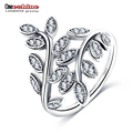 LZESHINE Newest 925 Sterling Silver Luxury Dazzling Wedding LEAVES Silver Ring for Women High Quality Fine Jewelry anillos