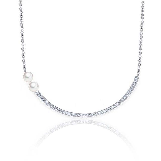 Señora de lujo del Oro Blanco del GP CZ Crystal Bar Collar Cubic Zirconia y Perla Palo Curvado Collares pendientes