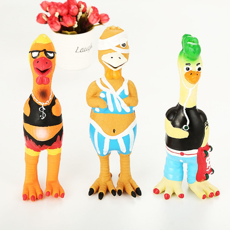 Pet Dogs Funny Chew Toy for Solve <font><b>Boredom</b></font> Dogs Latex Chicken Shapes Squeaky Molar Toys For Puppy image