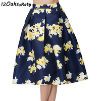 12 OAKS OF KATY Europe And America Women Fashion Flower Print Ball Gown Skirt Retro High