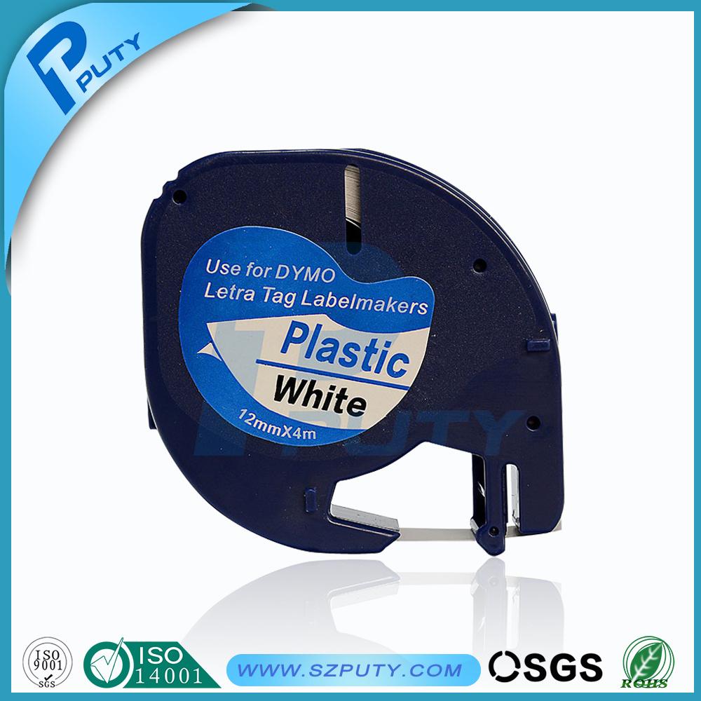 Prix pour Dymo 91201 en plastique LT bande d'étiquettes DYMO LetraTag Étiquette Ruban DYMO étiquette imprimante 12mm * 4 m noir sur blanc