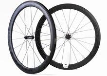 Jeu de roues de bicyclette de route en carbone, 700C, 50mm de profondeur, pneu/tubulaire, 25mm de largeur, jeu de roues de bicyclette 12K, finition mate avec autocollants Evo