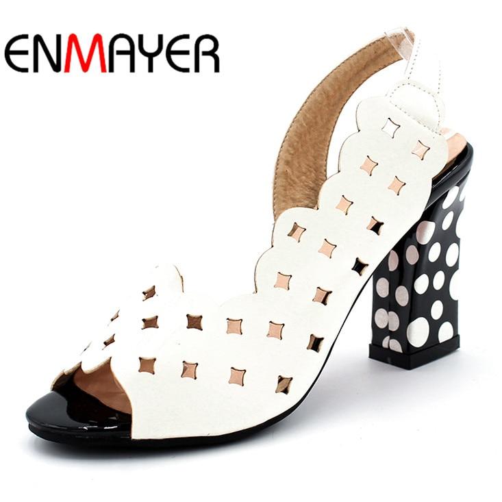 ENMAYER moda estilo recortes gruesas con lunares Peep-toe de tacón alto  Sexy verano 2 colores blanco sandalias de las mujeres bombean los zapatos 66b4488b1d5
