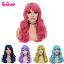Imstyle Pink Blue Synthetic Wigs With Bangs Wavy Wig For Women Heat Resistant Fiber Glueless Green Purple Cosplay Hair Wig(China)