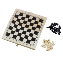 Foldable Wooden Chessboard Travel Chess Set with Lock and Hinges--Ivory Black Pieces