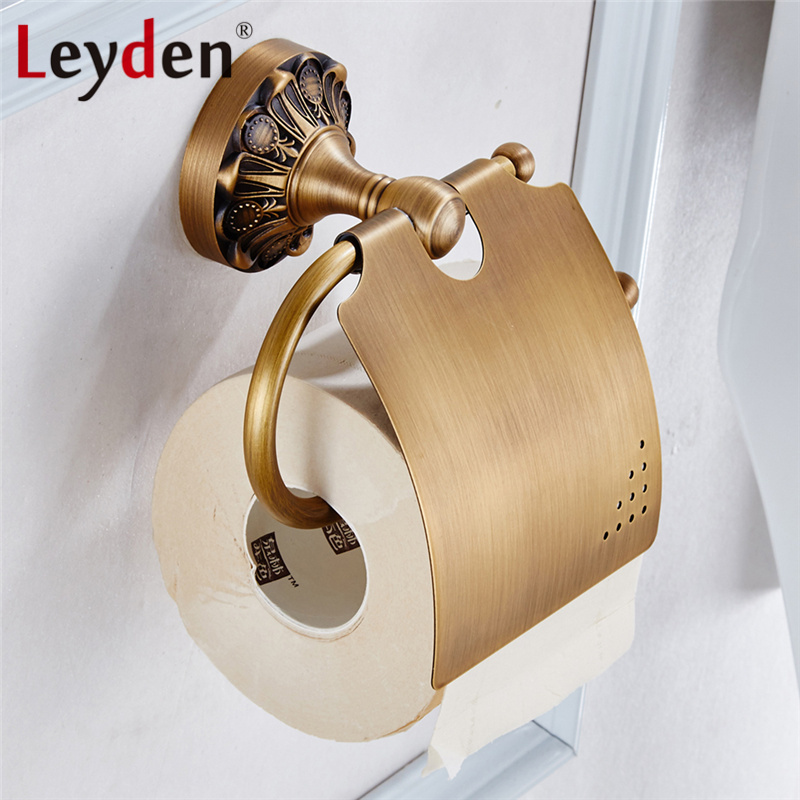 Leyden Toilet Paper Holder Black/ Antique Brass Wall Mounted Paper Roll Holder Toilet Tissue Holder Copper Bathroom Accessories bathroom accessory antique brass wall mounted copper toilet paper roll holder free shipping aba037