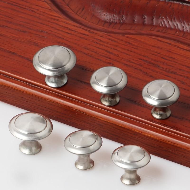 Diameter 23mm 27mm Zinc Satin Nickel Cabinet Pull Cupboard Drawer Handle Knobs Wardrobe Handle With Screw Furniture Hardware