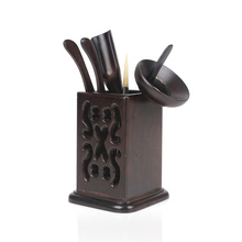 ebony wood tea set with  folder, needle, spoon,pick and pen