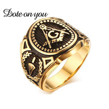 Vintage Ring 2017 New Silver Gold Color Signet Symbols Titanium 316L Stainless Steel Masonic Men Ring Freemason Male Rings Gifts