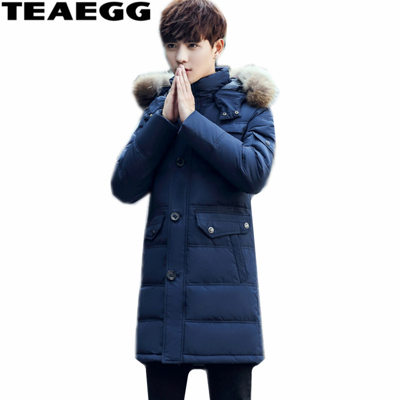 TEAEGG Plus Size 3XL 2017 Feather Jacket Mens Clothing Faux Fur Collar Winter Jackets White Duck Down Jacket For Man Coat AL360