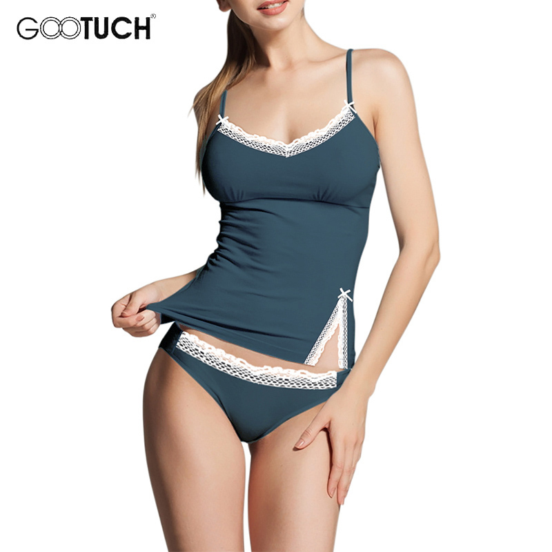 Women Sleepwear Piyamas Lace Trim Cami Top Plus Size   Pajama     Sets   Sexy Lingerie Intimate Ladies Sleeveless Strap Nightwear 2526