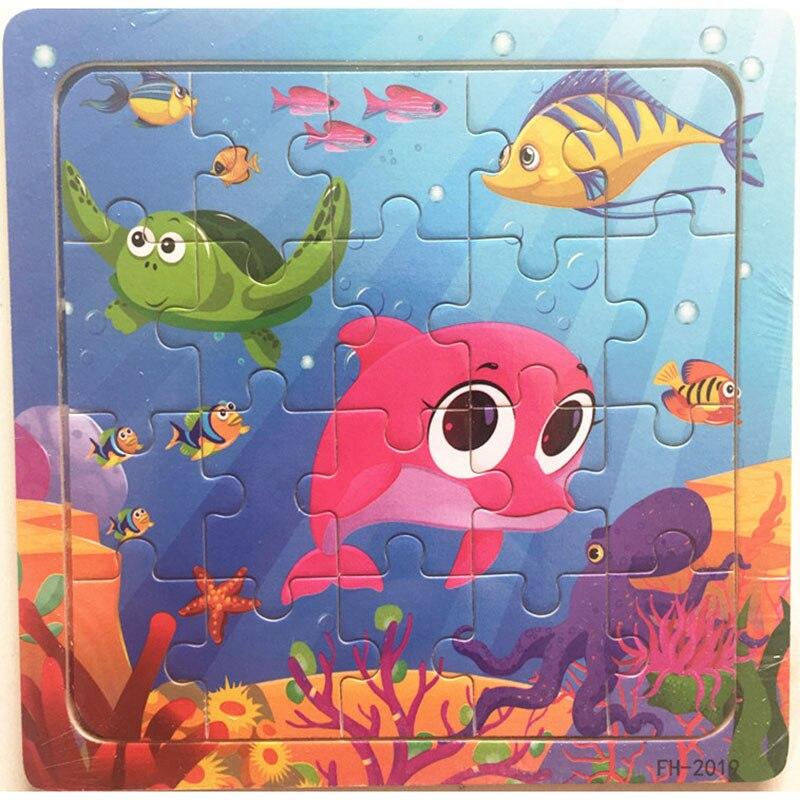Деревянные пазлы игрушки 20 шт. дети радость Превосходное качество головоломки деревянные Мультяшные животные Развивающие головоломки игрушки для детей - Цвет: 24