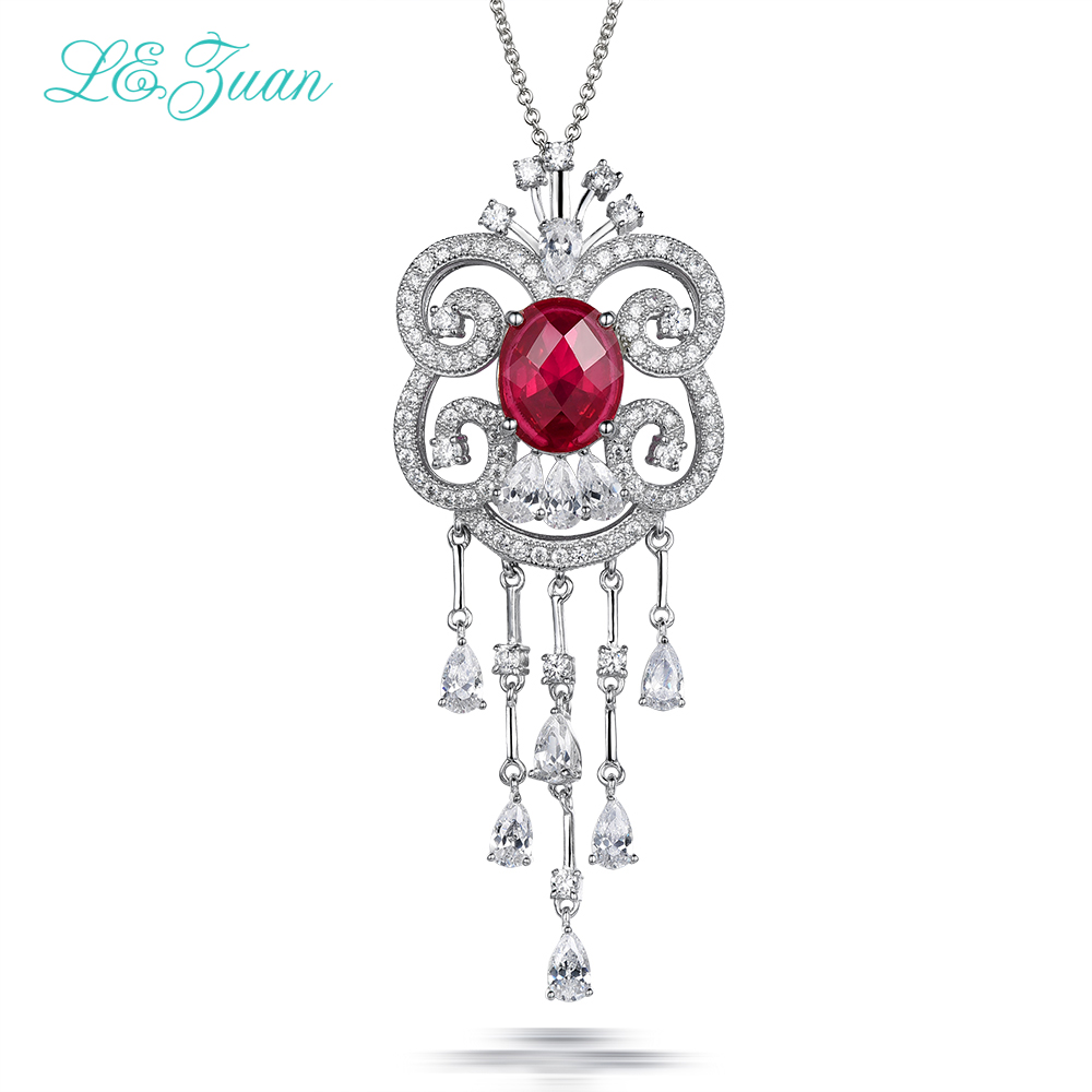 L&zuan S925 Sterling Silver Necklace With 4.85ct Red stone Luxury Pendant Fine Jewelry For Women