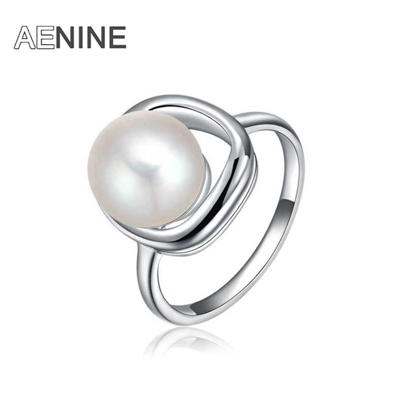 AENINE Trendy Finger Ring Jewelry Silver Color Romantic Simulated Pearl Rings For Women Bague Pour Femme L2010587070