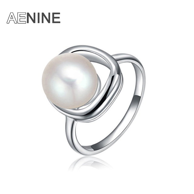 AENINE Trendy Finger Ring Jewelry Silver Color Romantic Simulated Pearl Rings Fo