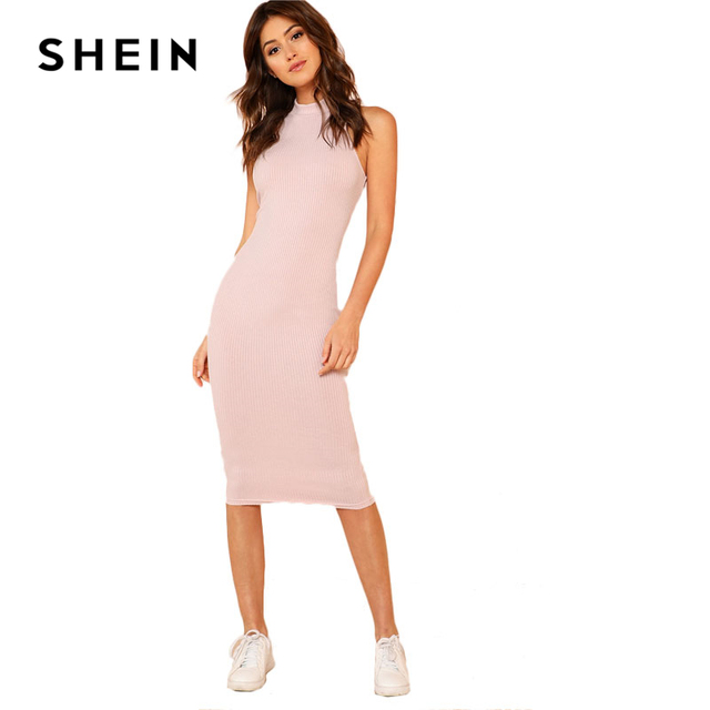 SHEIN Pink Mock Neck Rib Knit Plain Pencil Dress Women Stand Collar Sleeveless Slim Dress 2018 Elegant Going Out Bodycon Dress 5