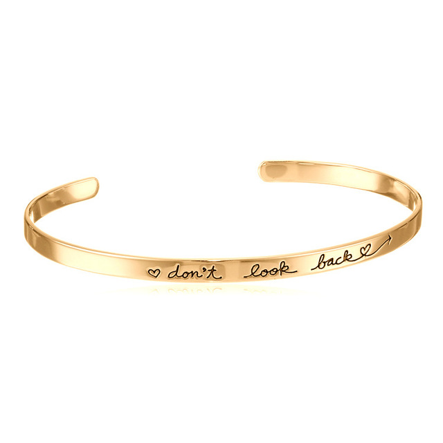 New Trendy Rose Gold Silver Color My Don't Look Back Bangle For Women Name Bracelet pulseras 8956