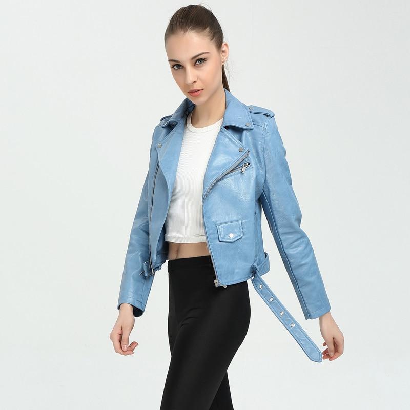 New Autumn Biker Moto   Leather   Jacketr 2017 Women Slim Long Sleeve Turn-down Short Coats Female Jaqueta De Couro Punk Feminino