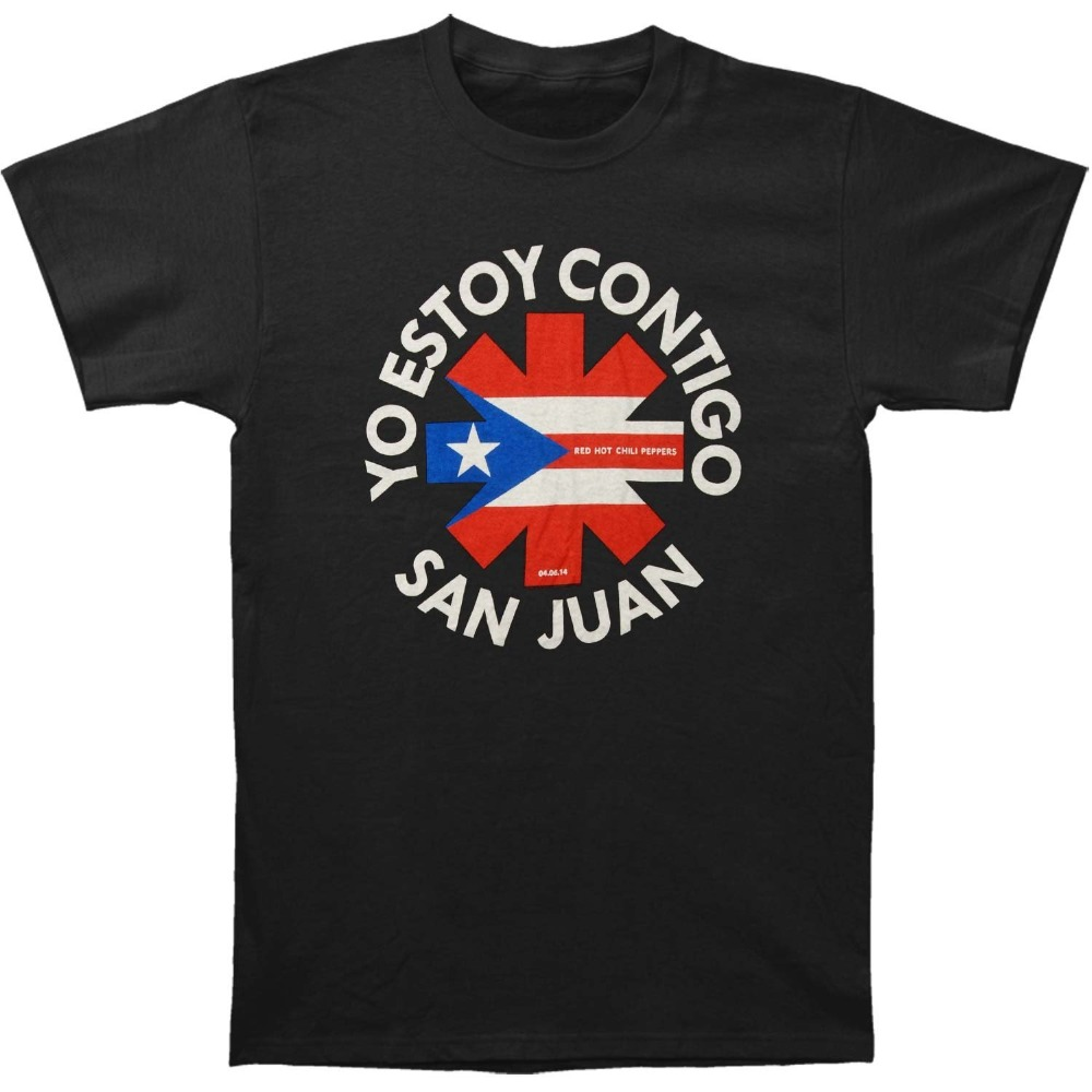 Cool Graphic T Shirts Mens Crew Neck Fashion Short Red Hot Chili Peppers Mens San Juan T-shirt Black T Shirts