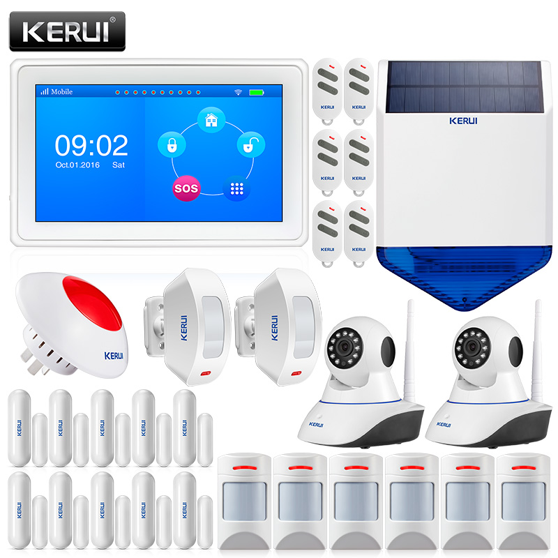 KERUI 7 Inch TFT Color Display WIFI GSM Security Alarm System Smart Home Solar Siren With IP Camera PIR Motion Detector босоножки l biagiotti босоножки